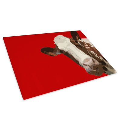 Red Abstract Brown Cow Glass Chopping Board Kitchen Worktop Saver Protector - A011
