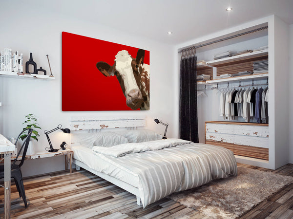 A011 Framed Canvas Print Colourful Modern Animal Wall Art - Red Popart Brown Cow Hip-Canvas Print-WhatsOnYourWall