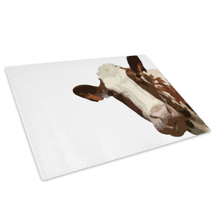 White Abstract Brown Cow Glass Chopping Board Kitchen Worktop Saver Protector - A012-Animal Chopping Board-WhatsOnYourWall
