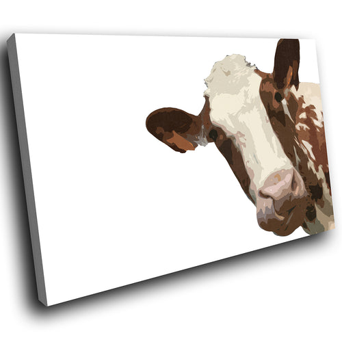 A012 Framed Canvas Print Colourful Modern Animal Wall Art - White Popart Brown Cow-Canvas Print-WhatsOnYourWall