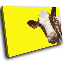 A013 Framed Canvas Print Colourful Modern Animal Wall Art -  Yellow Popart Brown Cow - WhatsOnYourWall