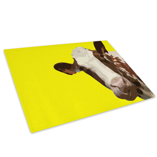 Yellow Abstract Brown Cow Glass Chopping Board Kitchen Worktop Saver Protector - A013-Animal Chopping Board-WhatsOnYourWall
