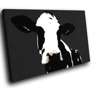 A014 Framed Canvas Print Colourful Modern Animal Wall Art - Popart Black Cow Farm Hip-Canvas Print-WhatsOnYourWall