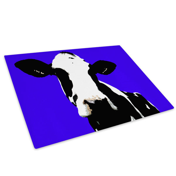 Blue Abstract Black Cow Glass Chopping Board Kitchen Worktop Saver Protector - A015-Animal Chopping Board-WhatsOnYourWall