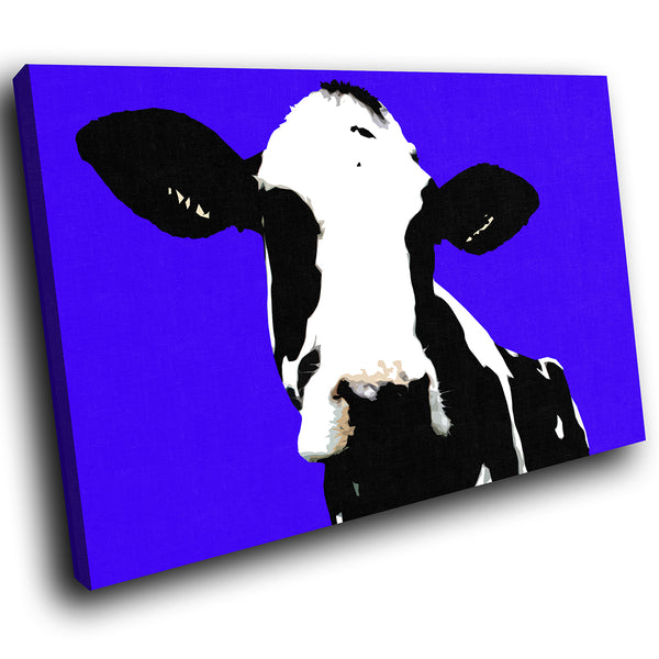 A015 Framed Canvas Print Colourful Modern Animal Wall Art - Blue Popart Black Cow Hip-Canvas Print-WhatsOnYourWall