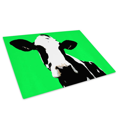Green Abstract Black Cow Glass Chopping Board Kitchen Worktop Saver Protector - A016-Animal Chopping Board-WhatsOnYourWall