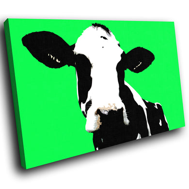 A016 Framed Canvas Print Colourful Modern Animal Wall Art - Green Popart Black Cow-Canvas Print-WhatsOnYourWall