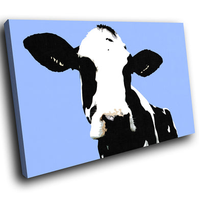 A017 Framed Canvas Print Colourful Modern Animal Wall Art - Blue Popart Black Cow Hip-Canvas Print-WhatsOnYourWall