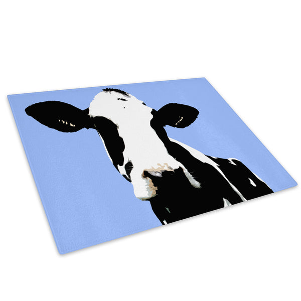 Blue Abstract Black Cow Glass Chopping Board Kitchen Worktop Saver Protector - A017-Animal Chopping Board-WhatsOnYourWall