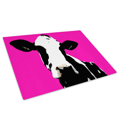 Pink Abstract Black Cow Glass Chopping Board Kitchen Worktop Saver Protector - A018-Animal Chopping Board-WhatsOnYourWall