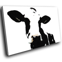 A020 Framed Canvas Print Colourful Modern Animal Wall Art - White Popart Black Cow-Canvas Print-WhatsOnYourWall