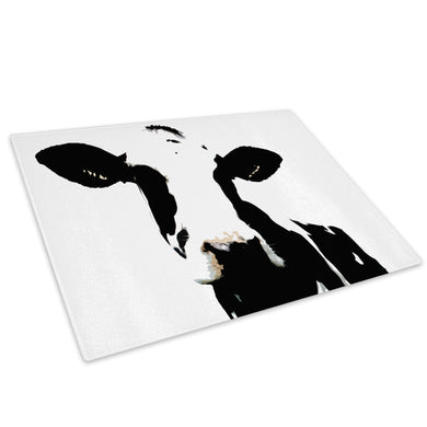 White Abstract Black Cow Glass Chopping Board Kitchen Worktop Saver Protector - A020-Animal Chopping Board-WhatsOnYourWall