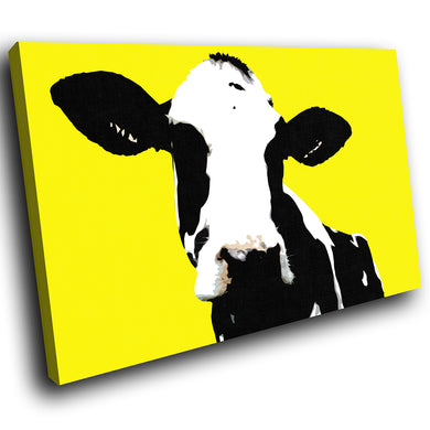 A021 Framed Canvas Print Colourful Modern Animal Wall Art - Yellow Popart Black Cow-Canvas Print-WhatsOnYourWall