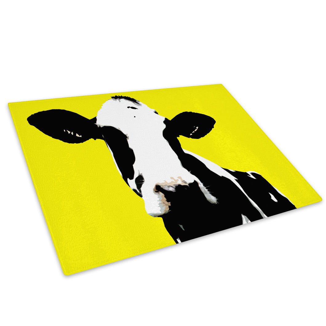 Yellow Abstract Black Cow Glass Chopping Board Kitchen Worktop Saver Protector - A021-Animal Chopping Board-WhatsOnYourWall