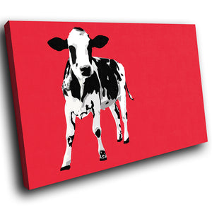 A022 Framed Canvas Print Colourful Modern Animal Wall Art - Red Popart Black Cow Hip-Canvas Print-WhatsOnYourWall