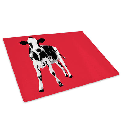 Red Abstract Black Cow Glass Chopping Board Kitchen Worktop Saver Protector - A022-Animal Chopping Board-WhatsOnYourWall