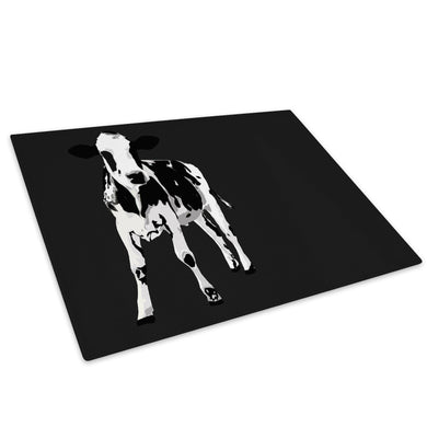 Black White Abstract Cow Glass Chopping Board Kitchen Worktop Saver Protector - A023-Animal Chopping Board-WhatsOnYourWall