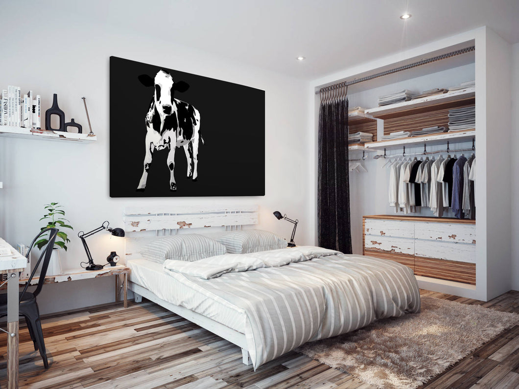 A023 Framed Canvas Print Colourful Modern Animal Wall Art - Black White Popart Cow-Canvas Print-WhatsOnYourWall