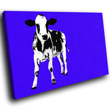 A024 Framed Canvas Print Colourful Modern Animal Wall Art - Blue Popart Black Cow Cool-Canvas Print-WhatsOnYourWall