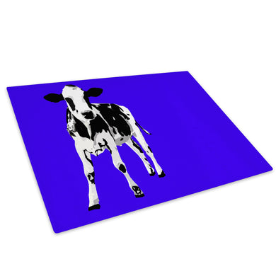 Blue Abstract Black Cow Glass Chopping Board Kitchen Worktop Saver Protector - A024-Animal Chopping Board-WhatsOnYourWall