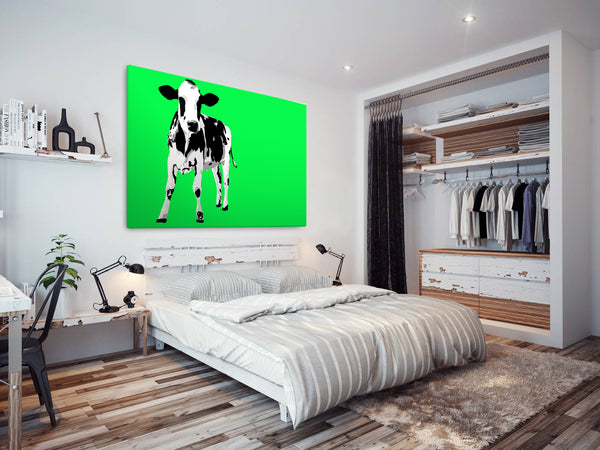 A025 Framed Canvas Print Colourful Modern Animal Wall Art - Green Popart Black Cow-Canvas Print-WhatsOnYourWall