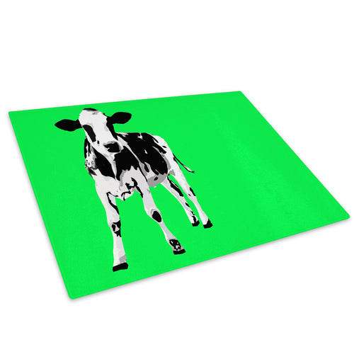Green Abstract Black Cow Glass Chopping Board Kitchen Worktop Saver Protector - A025-Animal Chopping Board-WhatsOnYourWall