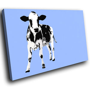A026 Framed Canvas Print Colourful Modern Animal Wall Art - Blue Popart Black Cow Hip-Canvas Print-WhatsOnYourWall