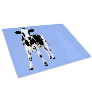 Blue Abstract Black Cow Glass Chopping Board Kitchen Worktop Saver Protector - A026-Animal Chopping Board-WhatsOnYourWall