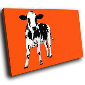 A027 Framed Canvas Print Colourful Modern Animal Wall Art - Orange Popart Black Cow-Canvas Print-WhatsOnYourWall
