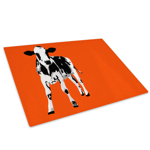 Orange Abstract Black Cow Glass Chopping Board Kitchen Worktop Saver Protector - A027-Animal Chopping Board-WhatsOnYourWall