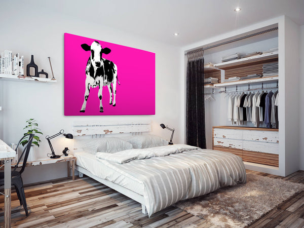 A028 Framed Canvas Print Colourful Modern Animal Wall Art - Hot Pink Popart Black Cow-Canvas Print-WhatsOnYourWall