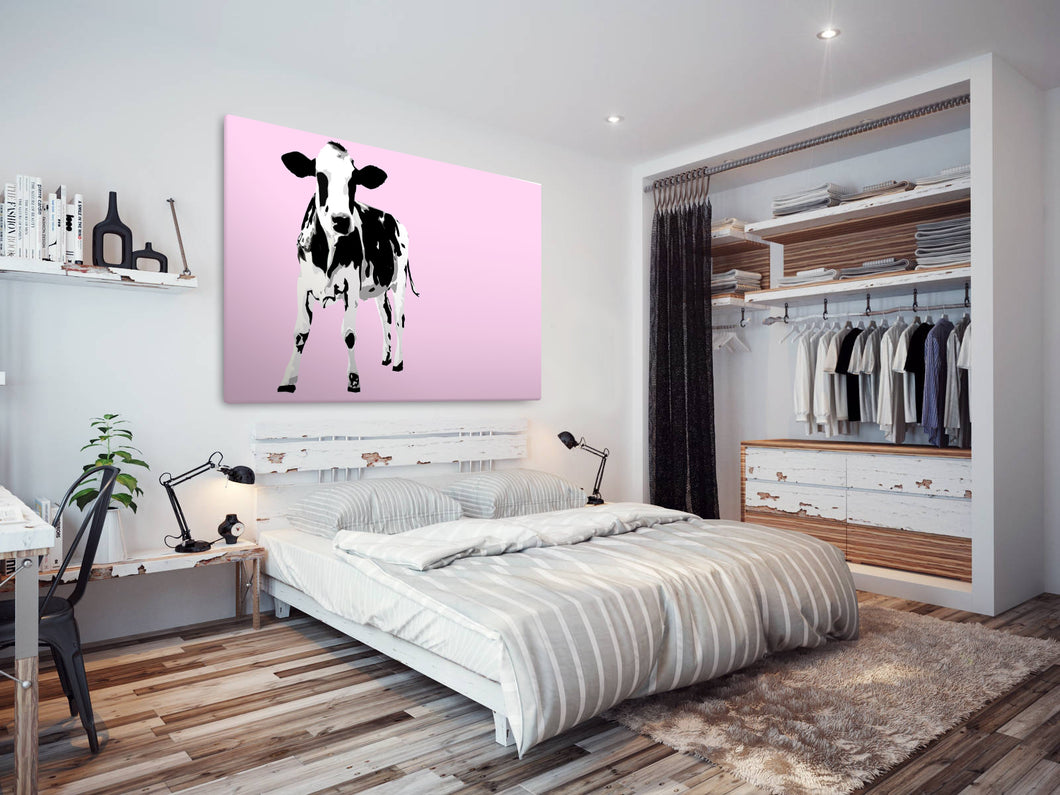 A029 Framed Canvas Print Colourful Modern Animal Wall Art - Pink Popart Black Cow Hip-Canvas Print-WhatsOnYourWall