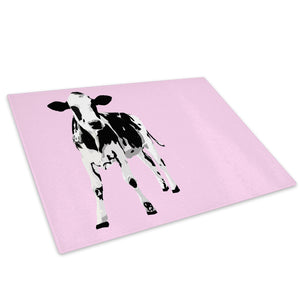 Pink Abstract Black Cow Glass Chopping Board Kitchen Worktop Saver Protector - A029-Animal Chopping Board-WhatsOnYourWall