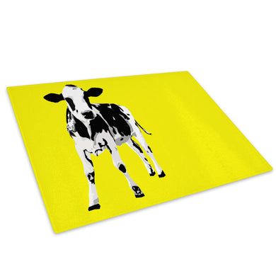 Yellow Abstract Black Cow Glass Chopping Board Kitchen Worktop Saver Protector - A030-Animal Chopping Board-WhatsOnYourWall