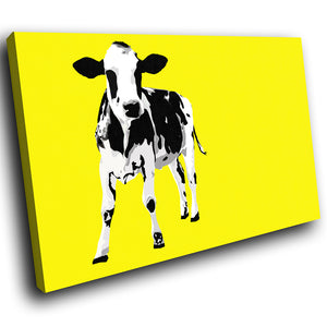 A030 Framed Canvas Print Colourful Modern Animal Wall Art - Yellow Popart Black Cow-Canvas Print-WhatsOnYourWall