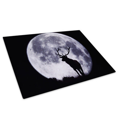 Black Moon Moose White Glass Chopping Board Kitchen Worktop Saver Protector - A031-Animal Chopping Board-WhatsOnYourWall