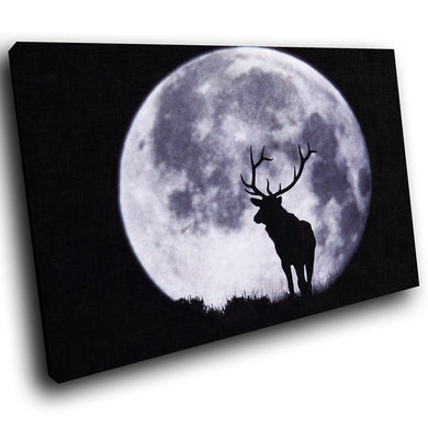 A031 Framed Canvas Print Colourful Modern Animal Wall Art - Black Moon Stag Cool Mono-Canvas Print-WhatsOnYourWall