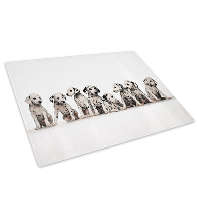 Dalmatian Puppy Dogs Black Glass Chopping Board Kitchen Worktop Saver Protector - A033-Animal Chopping Board-WhatsOnYourWall