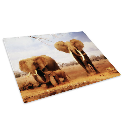 Brown Elephant Yellow Glass Chopping Board Kitchen Worktop Saver Protector - A035-Animal Chopping Board-WhatsOnYourWall