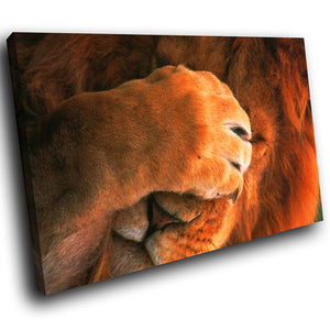 A036 Framed Canvas Print Colourful Modern Animal Wall Art - Brown Red Lion Africa Cool-Canvas Print-WhatsOnYourWall