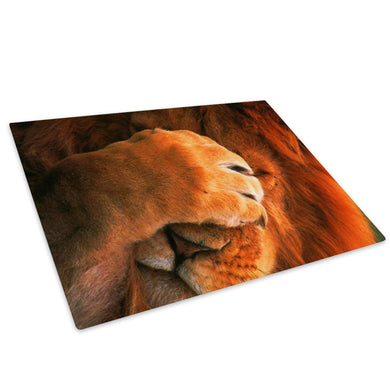 Brown Lion Africa Orange Glass Chopping Board Kitchen Worktop Saver Protector - A036-Animal Chopping Board-WhatsOnYourWall