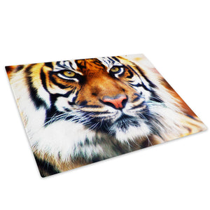 Brown White Striped Tiger Glass Chopping Board Kitchen Worktop Saver Protector - A037
