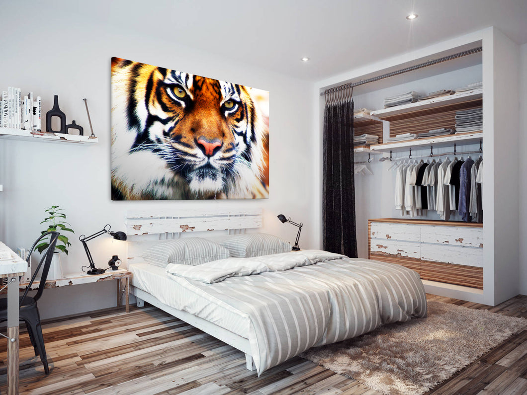 A037 Framed Canvas Print Colourful Modern Animal Wall Art -  Brown White Striped Tiger - WhatsOnYourWall