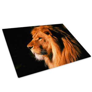 Brown Black Orange Lion Glass Chopping Board Kitchen Worktop Saver Protector - A038-Animal Chopping Board-WhatsOnYourWall