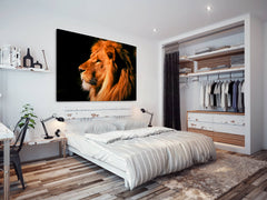 A038 Framed Canvas Print Colourful Modern Animal Wall Art - Brown Black Orange Lion Photo-Canvas Print-WhatsOnYourWall