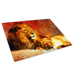 Red Yellow Lion Brown Glass Chopping Board Kitchen Worktop Saver Protector - A039-Animal Chopping Board-WhatsOnYourWall
