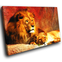 A039 Framed Canvas Print Colourful Modern Animal Wall Art - Red Yellow Lion Lioness Brown-Canvas Print-WhatsOnYourWall