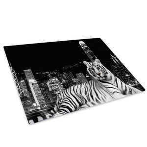 Black White Tiger City Glass Chopping Board Kitchen Worktop Saver Protector - A040-Animal Chopping Board-WhatsOnYourWall