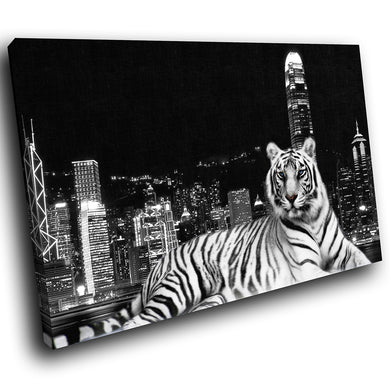 A040 Framed Canvas Print Colourful Modern Animal Wall Art - Black White Tiger City Vintage-Canvas Print-WhatsOnYourWall