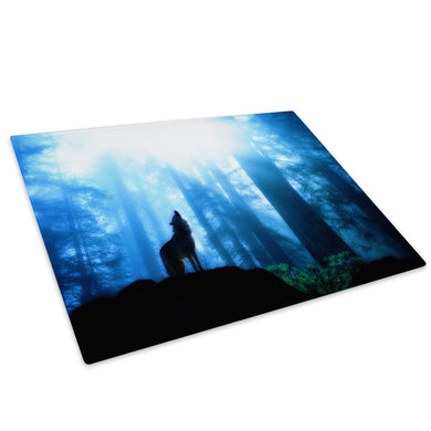 Blue Black Forest Wolf Glass Chopping Board Kitchen Worktop Saver Protector - A041-Animal Chopping Board-WhatsOnYourWall